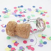 Champagne Cork And Confetti Art Print