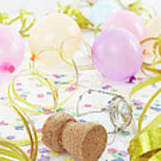 Champagne Cork, Ballons And Streamers Art Print