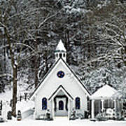 Chapel In The Snow - D007592 Art Print by Daniel Dempster