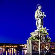 Charles Bridge Statue Of St John Of Nepomuk     Art Print by Jon Berghoff