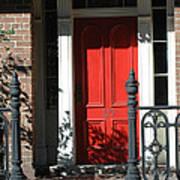 Charleston Red Door - Red White Black Door With Iron Gate Posts Art Print