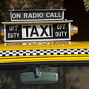 Checker Taxi Cab Duty Sign 2 Art Print