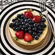 Cheese Cake On Black And White Plate Art Print by Garry Gay