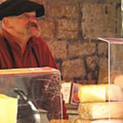Cheese Seller At Sarlat Market Art Print