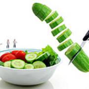 Chefs Making Salad Art Print