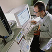 Chemist Checks For Pesticide Pollution On Computer Art Print by Tek Image