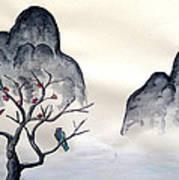 Cherry Blossom Mountains Art Print