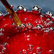 Cherry Bubbles Under Water Art Print