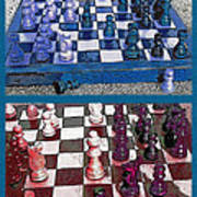 Chess Board - Game In Progress Diptych Art Print