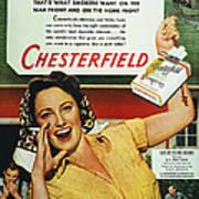 Chesterfield Cigarette Ad Art Print