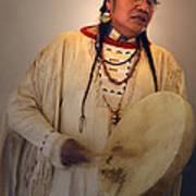 Cheyenne Native American Drummer Art Print
