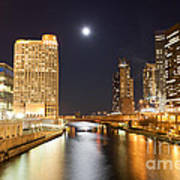 Chicago At Night At Columbus Drive Bridge Art Print
