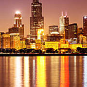 Chicago At Night With Willis-sears Tower Art Print by Paul Velgos