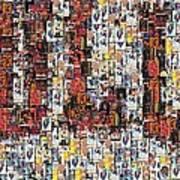 Chicago Bulls Michael Jordan Cards Mosaic Print by Paul Van Scott