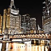 Chicago City At Night Art Print