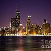 Chicago City At Night Photo Art Print