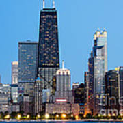 Chicago Downtown At Night With John Hancock Building Art Print