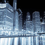 Chicago Downtown Skyline At Night Art Print