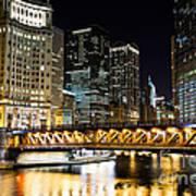 Chicago Dusable Michigan Avenue Bridge At Night Art Print