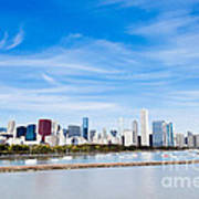Chicago Lakefront Skyline Wide Angle Art Print