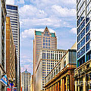 Chicago - Looking South From Lasalle Street Art Print