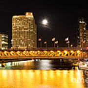 Chicago Michigan Avenue Dusable Bridge At Night Art Print