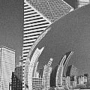 Chicago Reflection Bean Black And White Art Print