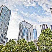 Chicago Skyline At Millenium Park Art Print