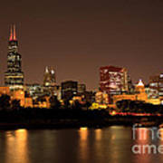 Chicago Skyline Downtown City Buildings At Night Art Print by Paul Velgos