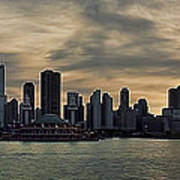 Chicago Skyline Navy Pier Art Print