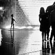 Child  Playing In Water Fountain Art Print