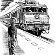 Child Train Safety, Artwork Art Print by Bill Sanderson