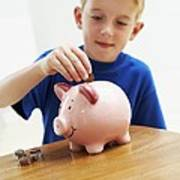 Child With A Piggy Bank Art Print by Ian Boddy