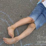 Childhood - Boy Draws With Chalk Art Print
