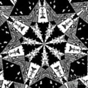 Children Animals Kaleidoscope Black And White Art Print