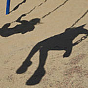 Children Cast Body Shadows In The Sand Art Print