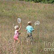 Children Collecting Insects Art Print by Ted Kinsman