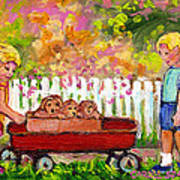 Chilrens Art-boy And Girl With Wagon And Puppies Art Print