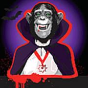 Chimpanzee In Dracula Costume Art Print
