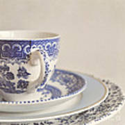 China Cup And Plates Art Print by Lyn Randle