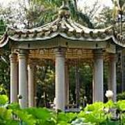 Chinese Pavilion In A Lotus Flower Garden Art Print