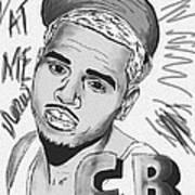 Chris Brown Cb Drawing Art Print by Kenal Louis