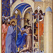 Christ Exorcising A Demon From A Possessed Youth: Illumination From The 15th Century Ms. Of The Tres Riches Heures Of Jean, Duke Of Berry Art Print