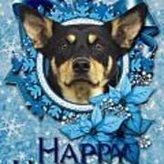 Christmas - Blue Snowflakes Australian Kelpie Art Print by Renae Laughner
