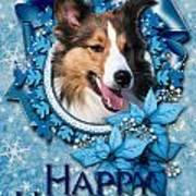 Christmas - Blue Snowflakes Sheltie Art Print
