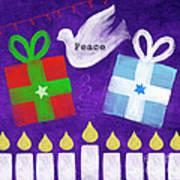 Christmas And Hanukkah Peace Art Print