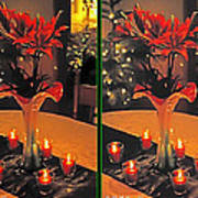 Christmas Arrangement - Gently Cross Your Eyes And Focus On The Middle Image Art Print