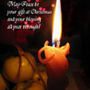 Christmas Candle Peace Greeting  Art Print