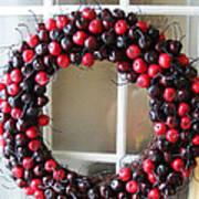 Christmas Cherry Wreath Art Print