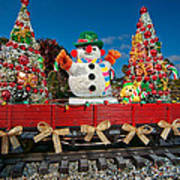 Christmas Snowman On Rails Art Print